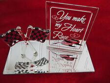 "New! Glass Baron Swarovski Crystal Heart ""You Make My Heart Race"" Table Art Gift"