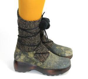 Stiefeletten Vintage Schuhe Boho Kordeln Strick Schnürung MUXART Barcelona 37