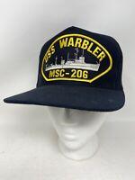Vintage USS Warbler MSC-206 Minesweeper Snapback Hat Eagle Crest Made in USA