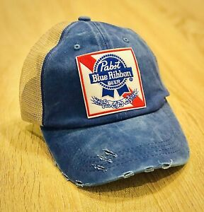 PBR Hat Pabst Blue Ribbon Beer Embroidered Patch Cap American Mesh Distressed 🍻