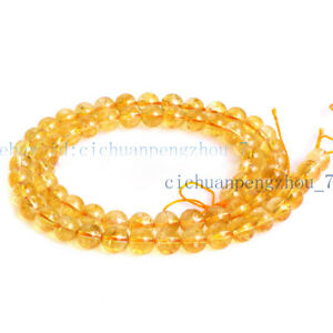 6/8/10mm Genuine Natural Yellow Citrine Quartz Crystal Round Loose Beads 15'' AA