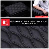 Black PU Leather + Sponge Car Armrest Pad Cover Center Console Box Protector Pad