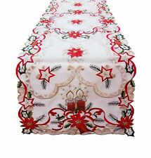 "16"" x 72"" Fashions Fancy Flowers Embroidered Cutwork Spring Table Runner WT/RD"