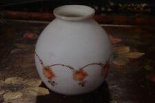 Globe luminaire ancienne blanche décor fleurs rose  opaline, suspension, lustre