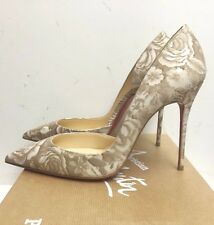 Christian Louboutin Iriza 100 Beige Patent Porcelaine Pumps Heels Shoes 40