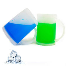 2 Double Wall Freezer Frosty Mugs 6oz Cold Beer Stein Chilled Frozen Drink Cup !