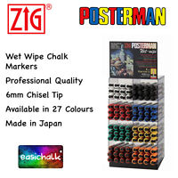 Zig Posterman Wet Wipe Chalk Pen 6mm Chisel Nib PMA550 Chalkboard Glass