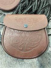 Brown Celtic  Knot / Embossed Cowhide Leather Scottish Kilt Sporran + Belt Set