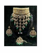 Indian Kundan Gold tone Bollywood Bridal Choker Necklace Earring Jewelry Set ES