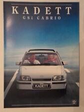 OPEL KADETT GSI CABRIO orig 1987 French Mkt Sales Brochure Depliant - Cabriolet