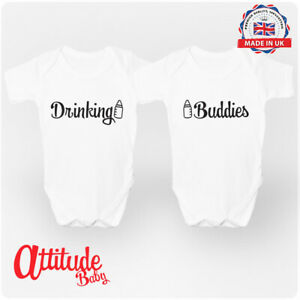 Twins Baby Grows-Printed-Drinking Buddies-Twins Baby Clothes-100% Cotton-Twins