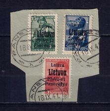 Lithuania Soviet Union Panevezys German Occupation  Mi #4b,6b,8b Certificate