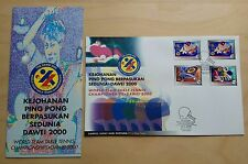 2000 Malaysia Sports Table Tennis DAWEI, 3v perf + 30sen imperf Stamps on FDC