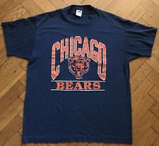 Vintage 80s Chicago Bears T-Shirt Mens XL 46-48 Blue Trench USA NFL Football
