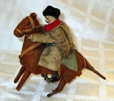1900S- Russian Cossack Rider On Horse- Clockwork-W-Up-Wood-Cloth -Antique Toy