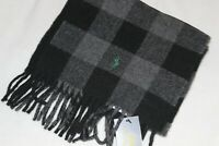 Polo Ralph Lauren Men's Made In Italy Pony Logo Plaid Black Wool Scarf $62