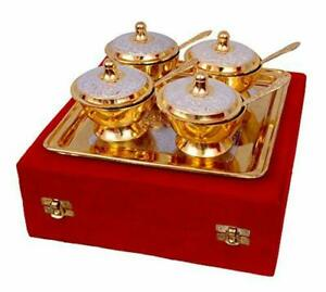 Silver and Gold Plated Brass Bowl with Spoon and Tray Silver and Gold Set @US