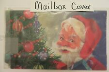 Magnetic Mailbox Cover Jolly St Nick, Santa Claus by Christmas Tree, Holiday