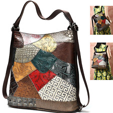 NEW Multi Colour Genuine Italian Leather Shoulder Handbag Satchel Backpack Bag