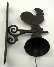 CAST IRON- Wall Mount Large Rooster Bell Indoor or Outdoor Country  Decor