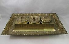 Antique brass inkwell porcelain inserts acanthus leaves French