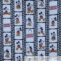 BonEful FABRIC FQ Cotton Flannel Quilt White Black Red B&W Mickey Mouse Disney S