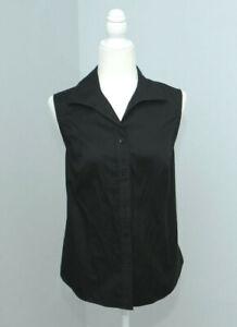 Chico's no iron Black Sleeveless Button-Down Shirt Blouse SZ 1.5 (M 10 us)