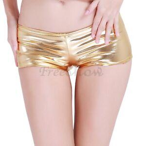 Women Sexy Shiny Mini Pants Metallic Hipster Boyshorts Underwear Clubwear Shorts