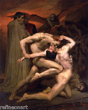 Adolphe William Bouguereau Dante and Virgil in Hell Giclee Fine Art Canvas Print