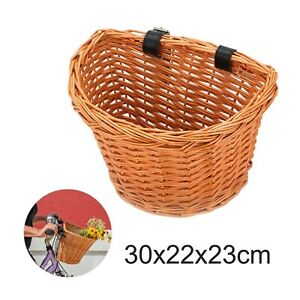 Bike Basket For Bike Cycle Rattan Wicker Basket Bike Handlebar Leather Straps