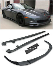 ZR1 Style PRIMER BLACK Front Lip Splitter Side Skirts For 05-13 Corvette C6 BASE