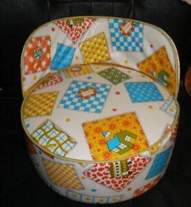 Vintage Toddler Child Booster Seat High Chair Vinyl School House Pattern