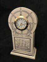 HMS Victory Faux Scrimshaw Quartz Free Standing Clock