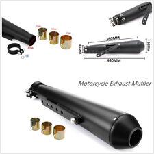 "44.5cm/17.5"" Metal Black Vintage Motorcycles Exhaust Pipe & Sliding Bracket Kit"
