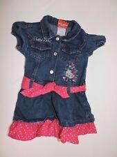 414b9ebfe Hello Kitty Denim Dress Pink Hearts Short Sleeve Toddler Girls Pink Bow  Waist 2T