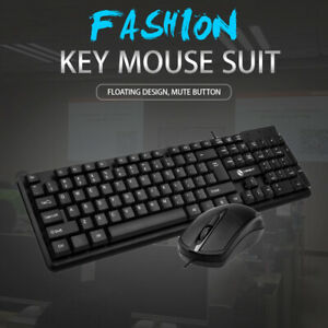 Computer Peripherals Desktop PC Wired Keyboard Mouse Combo Set Kit USB