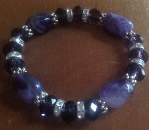 Genuine Amethyst & Purple Swarovski Crystal Stretch Bracelet