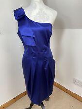Coast Royal Blue One Shoulder Satin Wedding Party Dress Size 16 Pockets