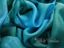 """Emerald, 3yd*45"""" tie-dye belly dance silk veil+bag, 5mm silk, edges rolled."""