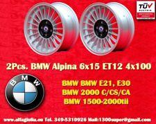 2 Cerchi BMW E30 E21 Alpine 6x15 ET12 4x100 Wheels Felgen Llantas Jantes TÜV