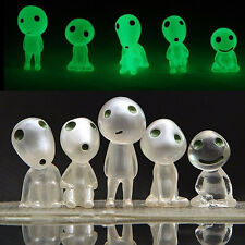 Lot 5 Princess Mononoke Forest Spirit Elf Kodama Glow in Dark Large Figure Set