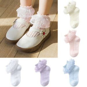 Girls Thin Lace Socks Elastic Cotton Socks Summer Frilly Ruffle Hollow Out 1Pair