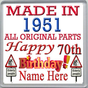 HAPPY 70th BIRTHDAY DRINKS COASTER CELEBRATION GIFT PERSONALISED WITH NAME 1951