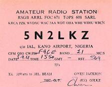 Q78 Carte QSL Radio Amateur Opérateur S5N2LKZ de Owen Jackson a KANO AIRPORT