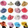 Womens Kentucky Derby Wide Brim Wedding Church Sea Beach Sun Hat Bow Linen A047