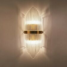 Contemporary Glass Rods Wall Light 2-Light Bathroom Vanity Sconce Metal in Gold