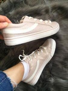 Primark Ladies Girls Flat Lace Up Trainer  Skater Pumps Shoes Light Pink Glitter