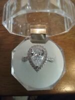 5 CT Rings, AAA Rhinestone CZ Pear Shape Halo Accents S925 Sterling Silver