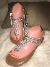 Merona Women Gold Braided Buckle T Strap Flat Sandals Size 8 NWT