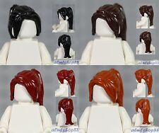 LEGO - 4x Female Hair Lot - Ponytail Long Black Dark Red Brown Orange Girl Wig